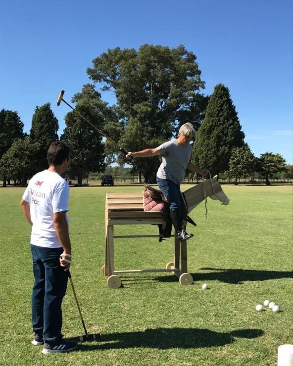 Man learning to play Polo in Buenos Aires