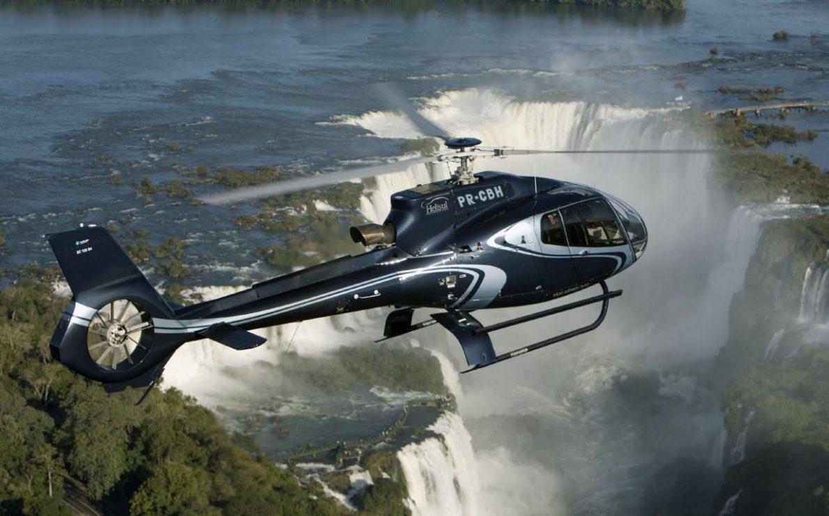 Helicopter Flying over Iguazú Falls
