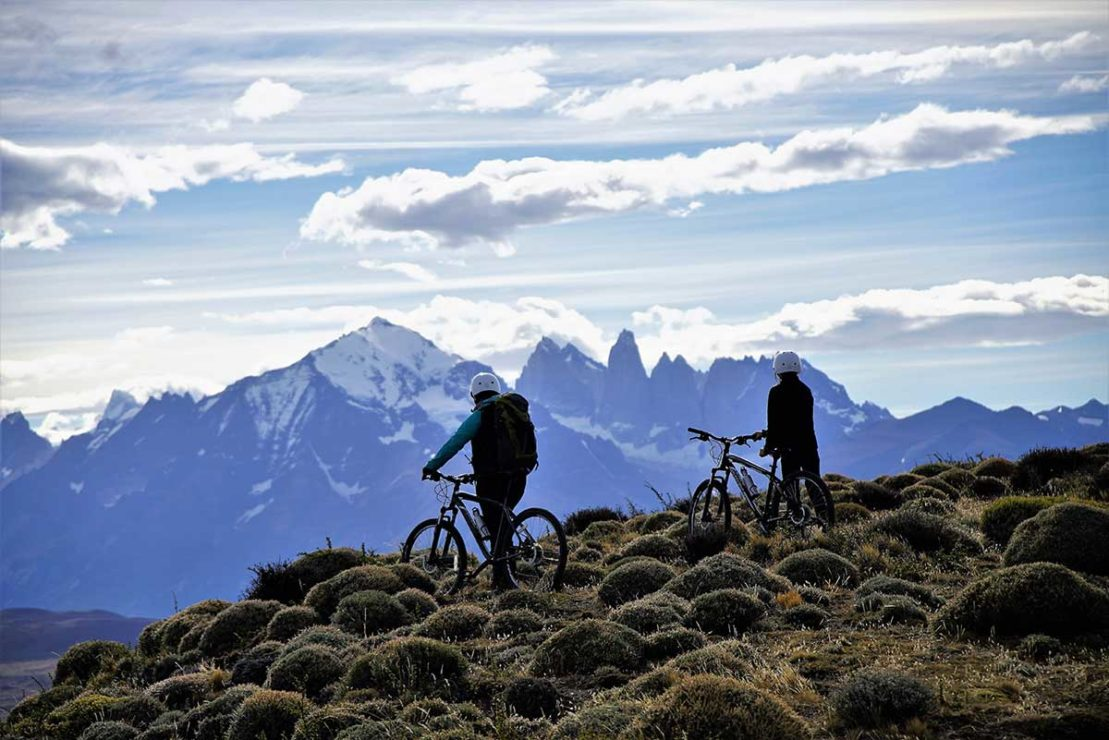 Cyclist in Patagonia Argentina