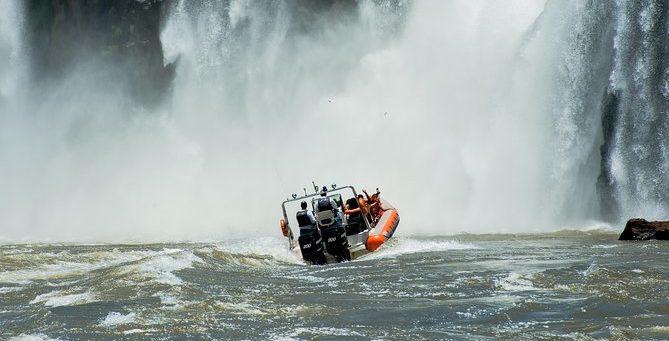 Fast Boat at the base of Iguazu Falls